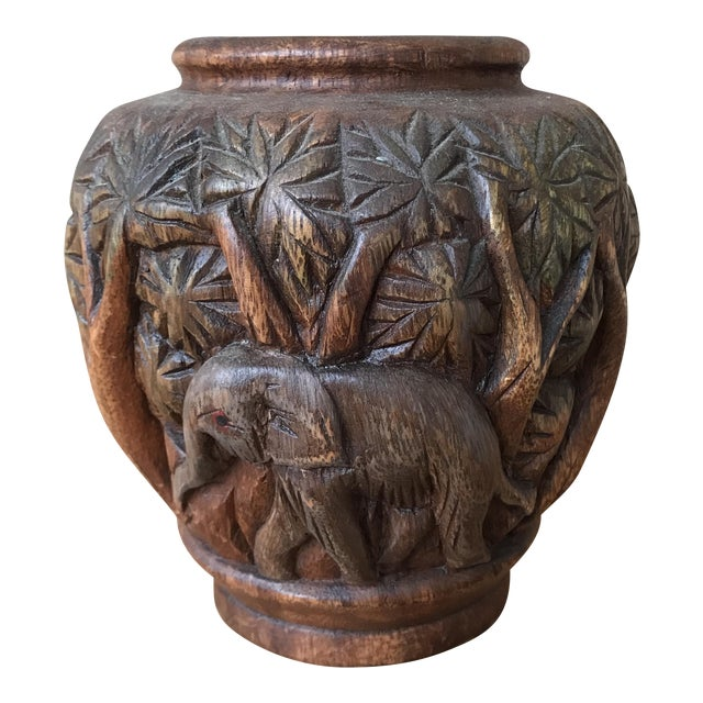 Hand Carved Wooden Elephant Vase Chairish