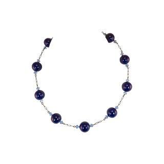 Edwardian Cobalt Art Glass Globes Necklace, C. 1905 For Sale