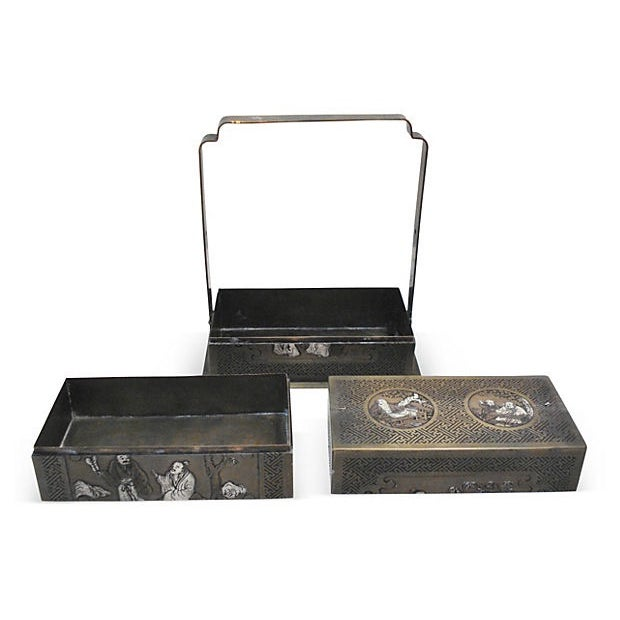 Bronze Chinoiserie 3-Tier Box For Sale - Image 4 of 6