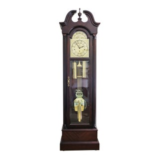 1980s Traditional Howard Miller Cherry Wood Grandfather Clock