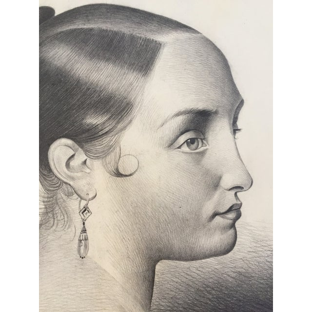 Antique French Master Drawing of a Woman, 1847 For Sale - Image 4 of 6