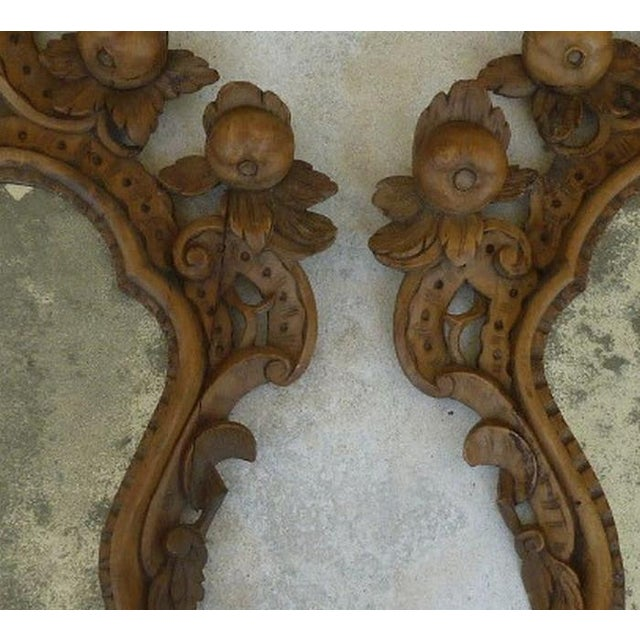 Fine 19th C Italian Venetian Rococo Wood Mirrors With Fruits - a Pair For Sale - Image 9 of 10