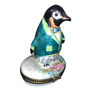 Early 20th Century Limoges, France Penguin With Bowtie Box For Sale