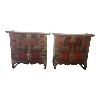 Matched Vintage Korean Tansu Chests - A Pair For Sale