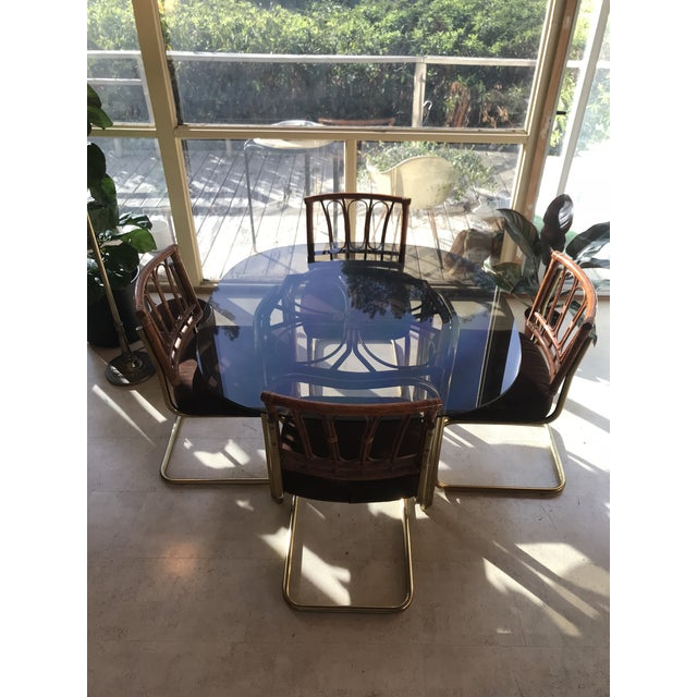1970's Brass & Rattan Smoked Glass Dining Set - Image 2 of 7