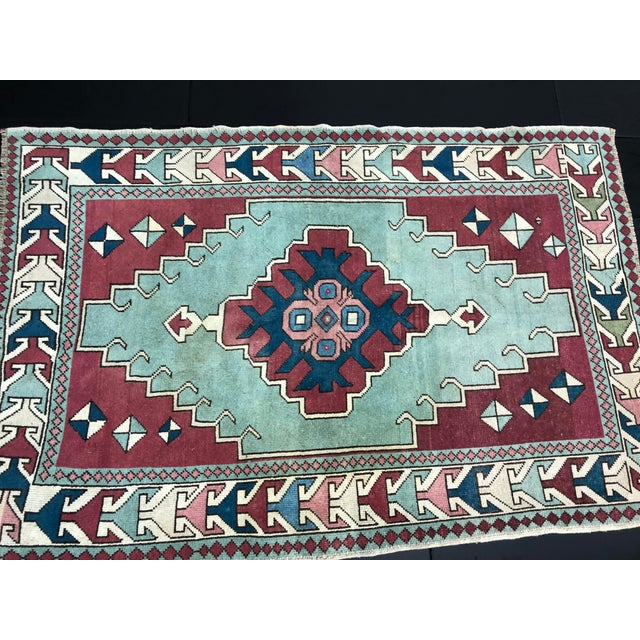 Textile Antique Turkish Anatolian Aztec Decorative Hand Rug - 4′4″ × 6′7″ For Sale - Image 7 of 11