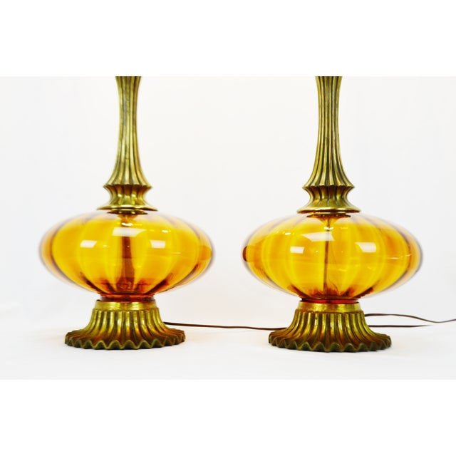 Mid Century Modern Amber Glass Table Lamps - a pair - Image 5 of 11