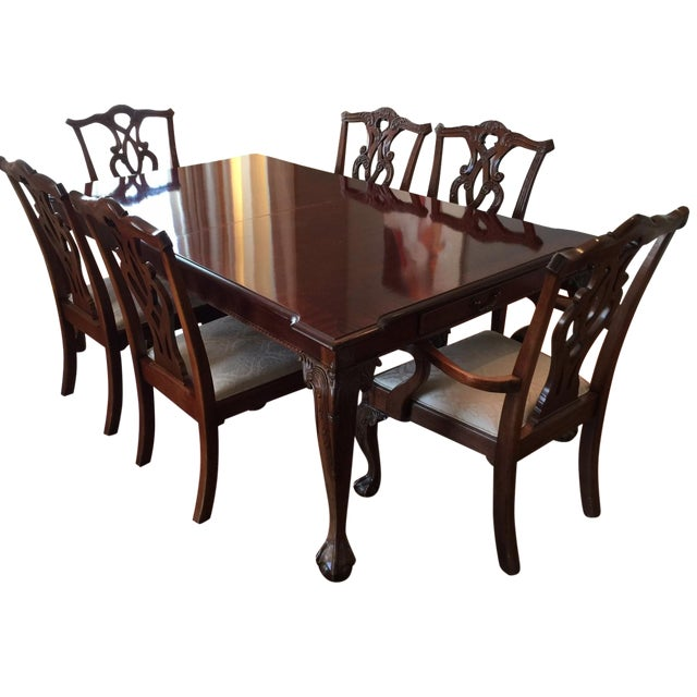 Stanley 60th Anniv Mahogany Chippendale Dining | Chairish