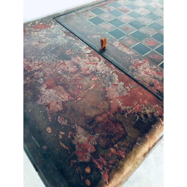 Mid-Century Modern Maitland Smith Distressed Leather Game Table For Sale - Image 11 of 13