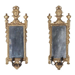 Pair of Italian Neoclassic Giltwood Girandole Mirrors For Sale