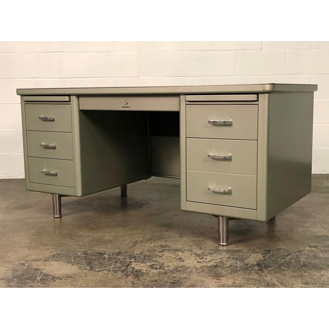 Steelcase Mid-Century Industrial Steel Tanker Desk For Sale - Image 13 of 13