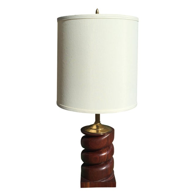 Spiral Carved Wood Table Lamp - Image 1 of 7