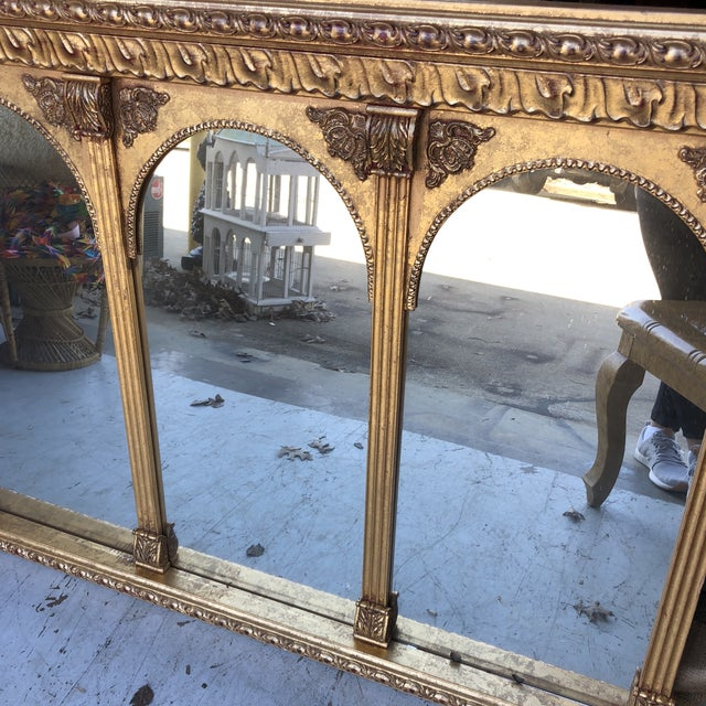Art Nouveau Neoclassical Arch Detail Gilded Mirror For Sale - Image 3 of 7