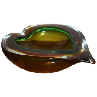 1960s Large Heart Shaped Murano Glass Ashtray Bowl For Sale