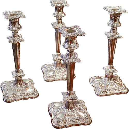 Early 20th Century Rococo American Quadruple Silver Plated Candlesticks - Set of 4 For Sale