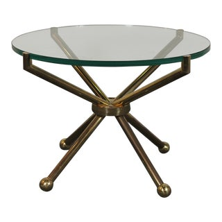 1960s Vintage Brass & Glass Low Table For Sale