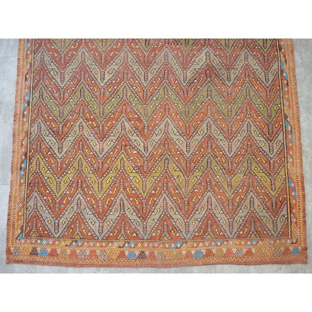 """Antique Turkish Kilim Rug Hand Woven Wool Jajim Braided Area Rug - 5'6"""" X 8'3"""" For Sale In Raleigh - Image 6 of 10"""