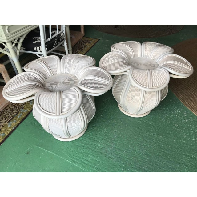 Tropical Pencil Reed Rattan Bell Flower Side Tables-Pair For Sale - Image 13 of 13