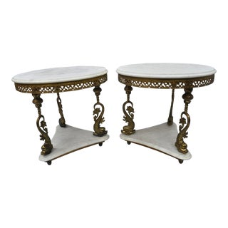 Vintage Marble Top Italian Round Side Tables - A Pair