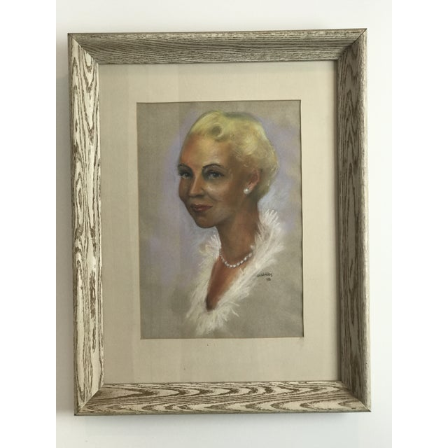 Mid-Century Portrait of Woman Wearing Pearls, Signed 1956 For Sale - Image 4 of 8