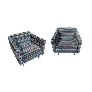 1960s Milo Baughman Club Chairs in Paul Smith Fabric - a Pair For Sale