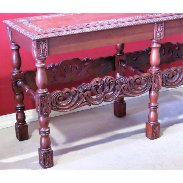 Carved Walnut Console Table For Sale - Image 5 of 6