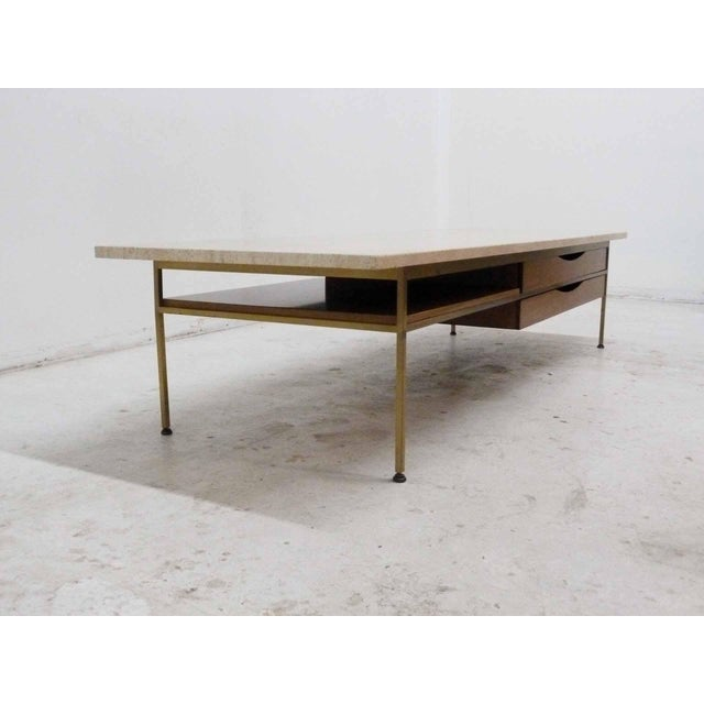 Paul McCobb For Calvin Mahogany, Brass & Travertine Coffee Table - Image 4 of 11