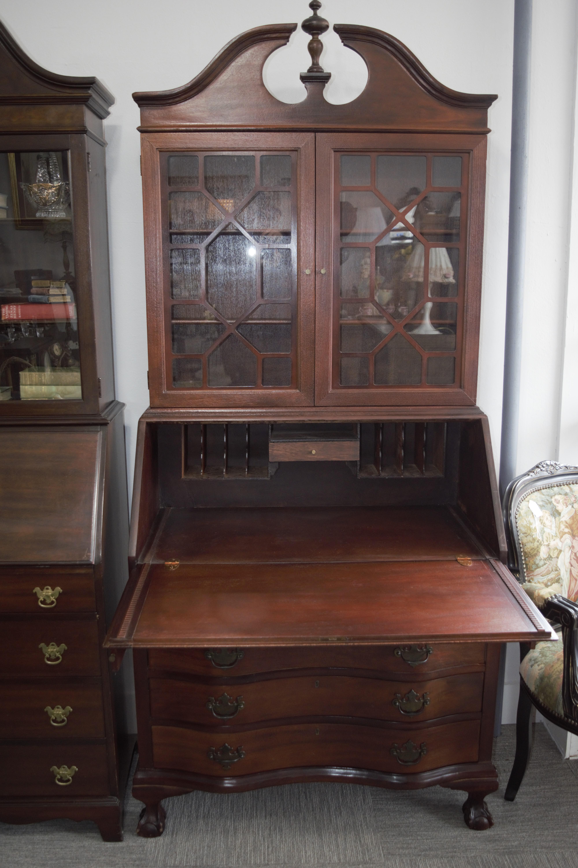 Antique Mahogany Drop Front Secretary Desk With Bookcase Back Chairish