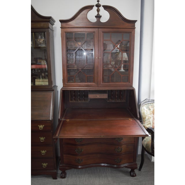 Beautiful Antique Chippendale Style Drop Front Secretary Desk Solid Gany Wood The Hutch Can