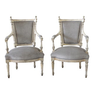19th Century Painted and Upholstered Louis XVI Style Open Arm Fauteuils - a Pair For Sale