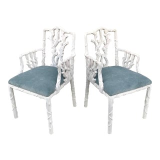 1980s Italian Faux Bois Arm Chairs - a Pair