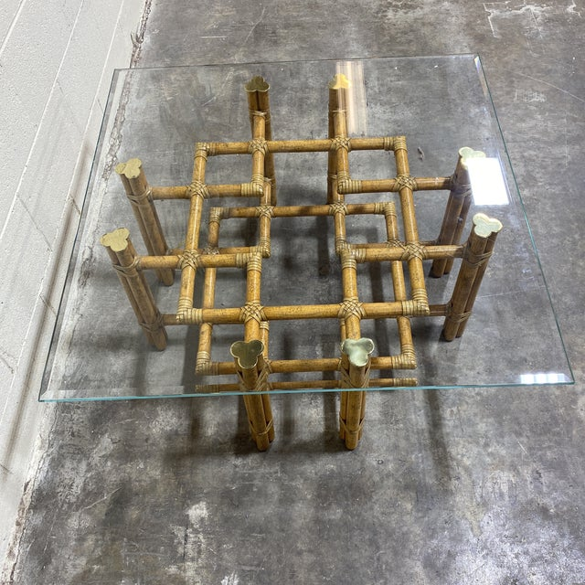 McGuire Bamboo Brass Glass Coffee Table For Sale - Image 11 of 12
