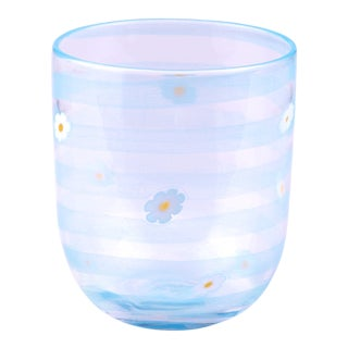LagunaB Ice Blue Daisy Handmade Murano Glass Tumbler For Sale