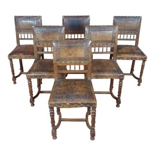 Spanish Revival -19th Century Chairs W/ Embossed Leather - Set of 6 For Sale