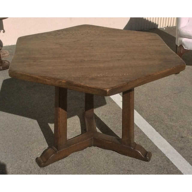 Brown Rustic Oak Center Table For Sale - Image 8 of 10