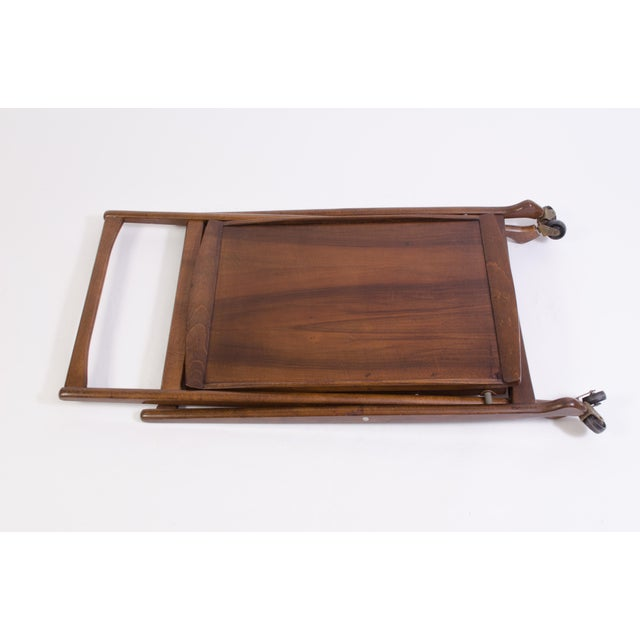 Danish Folding Walnut Bar Cart With Serving Tray - Image 11 of 11