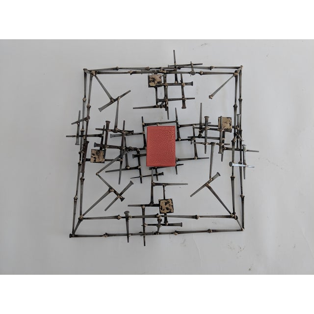 Abstract Brutalist Metal Wall Sculpture - Image 6 of 6