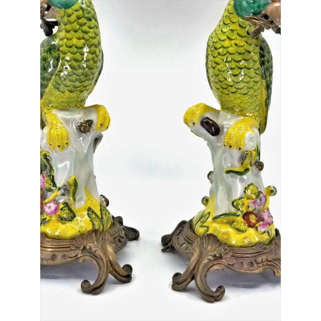 Large Parrot Candlesticks Candle Holders a - Pair - Vintage Porcelain Chinese Ceramic Birds - Tropical Coastal Mid Century Modern Boho Chic Palm Beach For Sale - Image 12 of 13