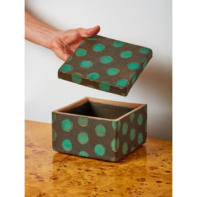 Handmade stoneware ceramic box by Matthew Ward Studio. Meticulously crafted and perfectly glazed with polka dots. These...