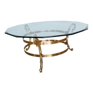 Mid 20th Century Brass Swan Neck Coffee Table For Sale