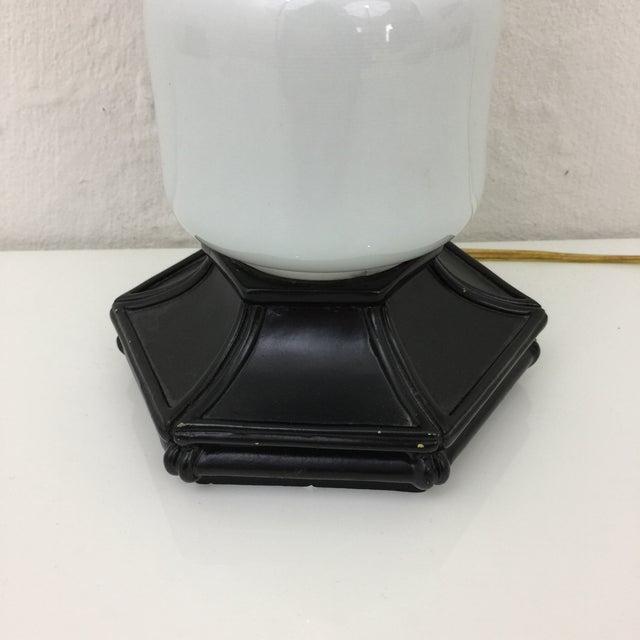 Mid-Century Modern Milk Glass & Bamboo Wood Base Table Lamp - Image 5 of 7