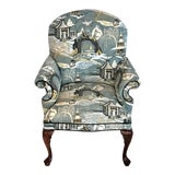 Image of Mid Century Robert Allen Chinoiserie Toile Upholstered Queen Anne Armchair For Sale