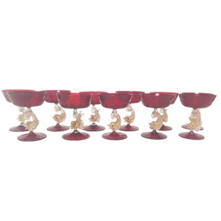 1920s Ruby Red Salviati Venetian Dolphin Stem Champagne Coups - Set of 11 For Sale