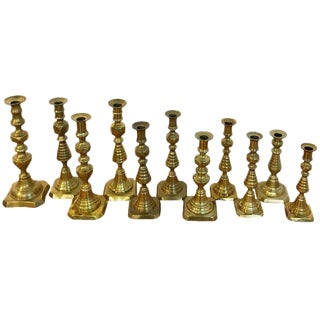 Collection of 11 Antique English Brass Candlesticks For Sale