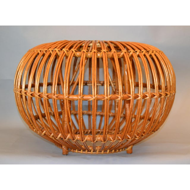 Vintage Franco Albini & Franca Helg round hand-woven Rattan, Wicker ottoman, pouf, footstool or side table. Exemplary...