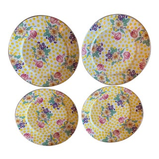"""MacKenzie Childs Buttercup Pattern 12"""" Enamel Plates With Silver Rim For Sale"""
