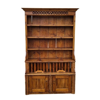 Antique 19th Century Irish Pine 2 Part Chicken Coop Cupboard Cabinet Hutch For Sale