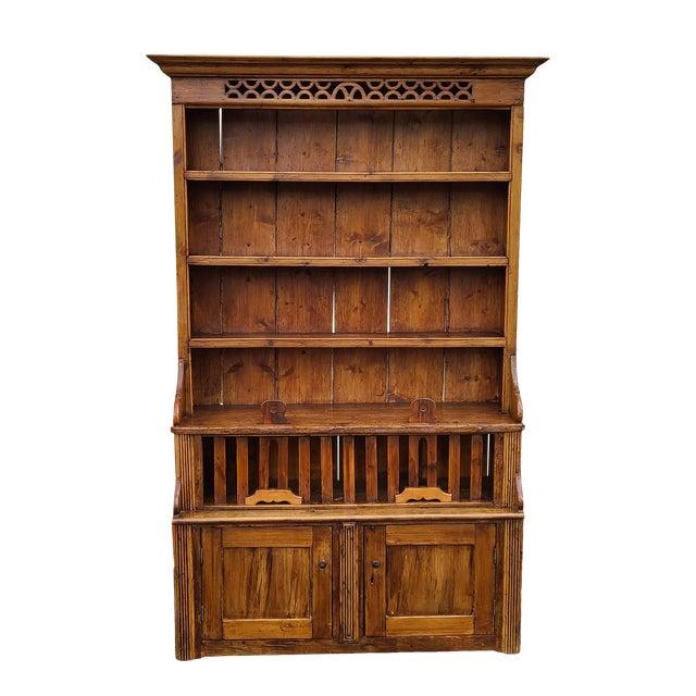 Antique 19th Century Irish Pine 2 Part Chicken Coop Cupboard Cabinet Hutch For Sale