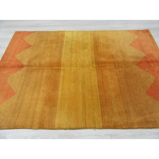 Decorative Yellow Safraan Turkish Gabbeh Rug - 5′6″ × 8′1″ - Image 3 of 6