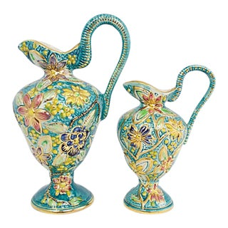 Belgian Floral Vases, a Pair For Sale